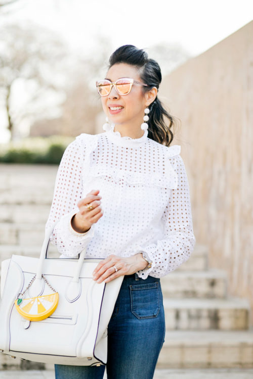 who what wear x target eyelet top w/ baublebar crispin drop earrings, celine white luggage tote, how to make a cheap top look expensive