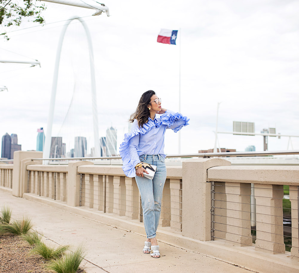 stylekeepers ruffle button up shirt with levi's wedgie icon selvedge jeans and gucci marmont silver mules at margaret hunt hill bridge dallas