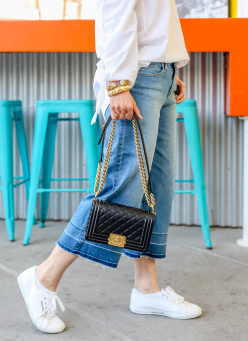 free people show me some shoulder off the shoulder top, target cropped wide leg denim culottes, how to wear superga creeper sneakers and chanel boy bag