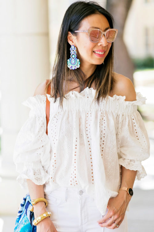endless rose eyelet off the shoulder top with Alejandra Aspillaga statement earrings, spring all white outfit idea