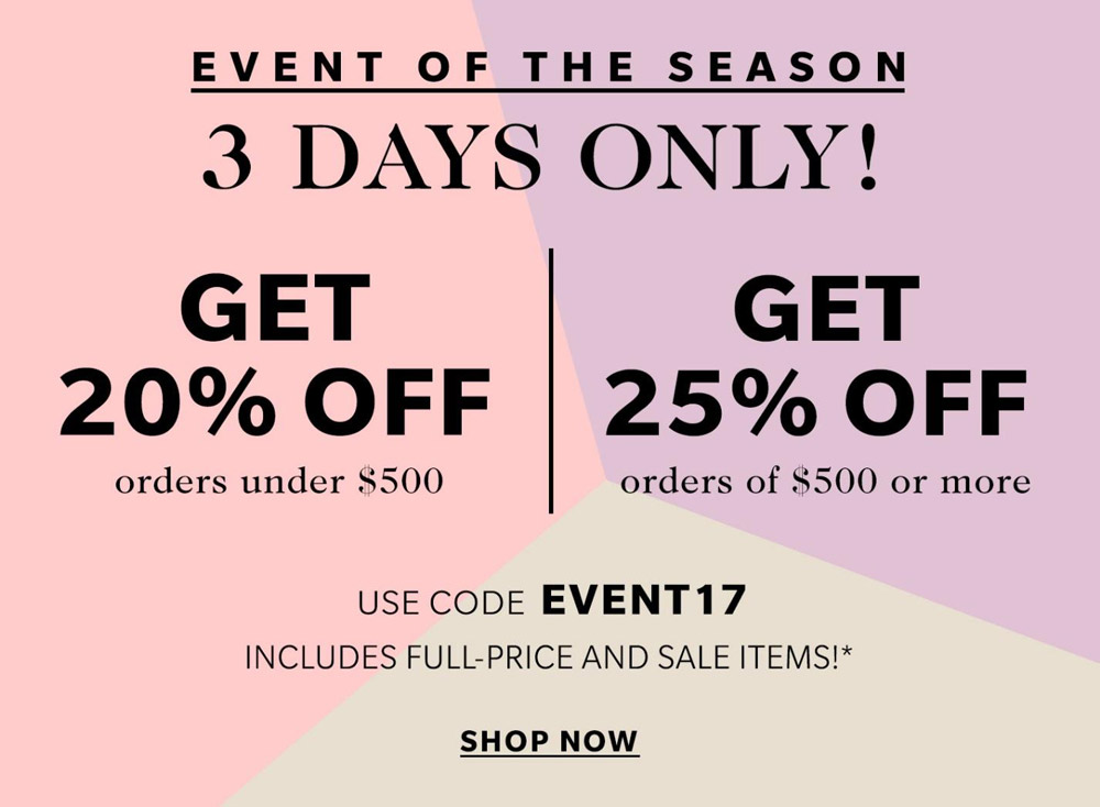 shopbop sale promo code april 2017
