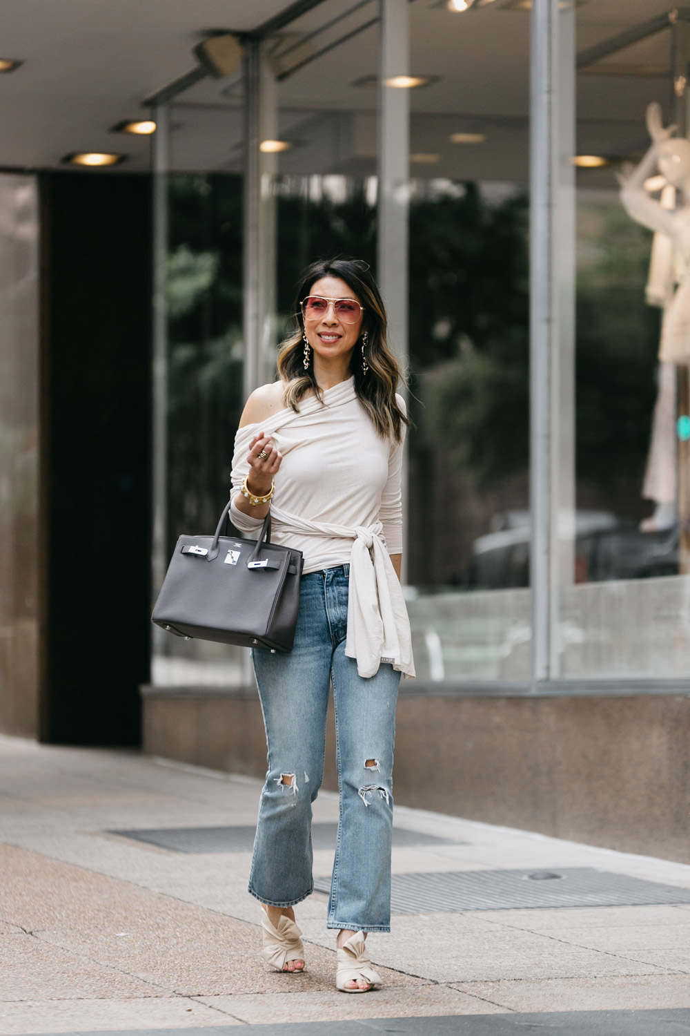 lilla p origami top in canvas with levi's 517 cropped jeans heatstroke, charlotte olympia ilonia mules, hermes birkin 30 etaine