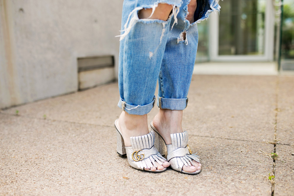 target ripped boyfriend jeans and gucci marmont silver cracked mules