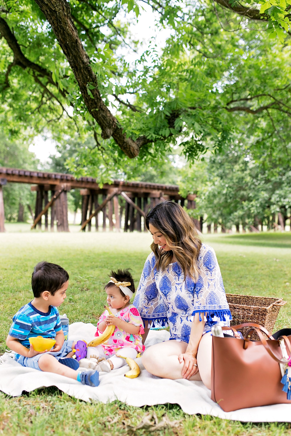 mother's day picnic trinity park fort worth, fossil rachel tote