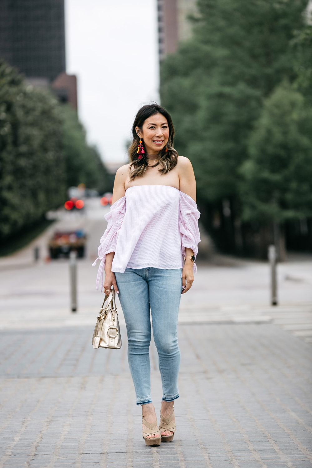 club monaco liki top, kate spade pretty pom tassel drop earrings, citizens of humanity rocket crop light wash jeans, joie platform sandals, gold ysl mini muse bag