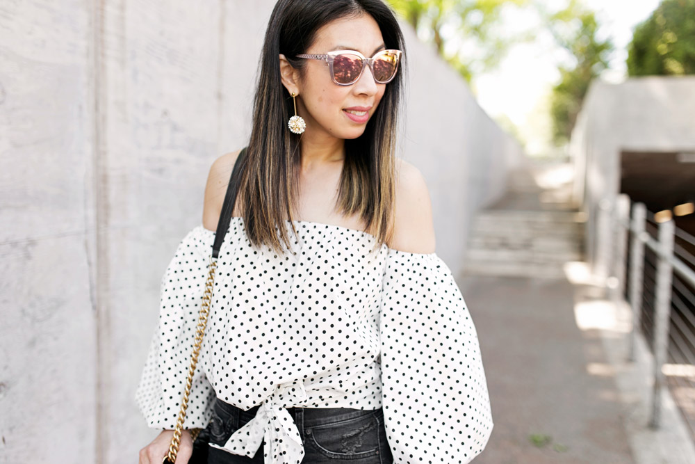polka dot puff sleeve off the shoulder top with lele sadoughi plumeria drop earrings, chanel boy bag