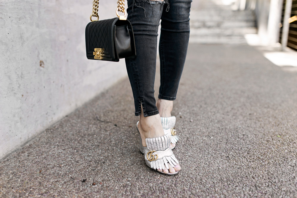 chanel boy bag, rag and bone slit capri jeans in steel, gucci silver marmont mules