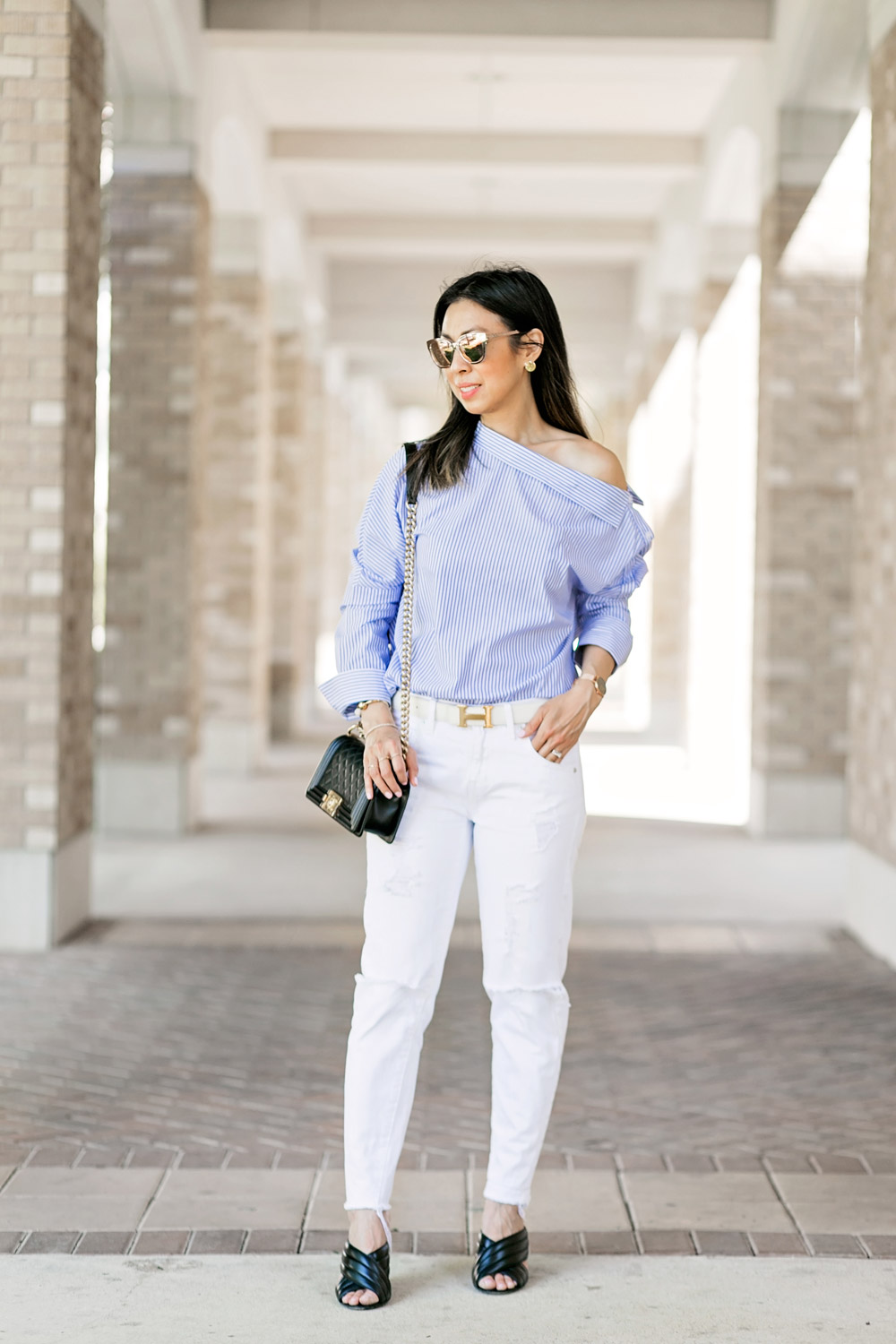 who what wear one shoulder button top with white boyfriend jeans, hermes belt, black gucci webby sandals and chanel boy bag