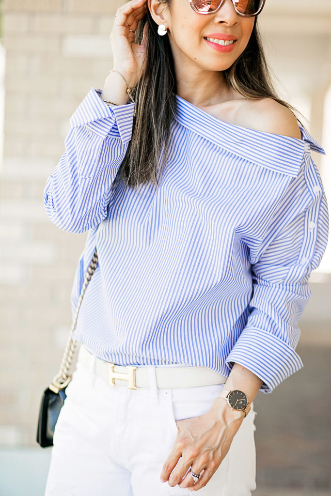 who what wear one shoulder button top with white boyfriend jeans, hermes belt and daniel wellington classic petite rose gold watch