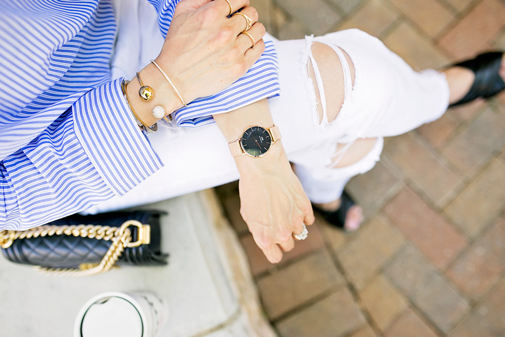 who what wear one shoulder button top with white boyfriend jeans, daniel wellington classic petite rose gold watch and chanel boy bag