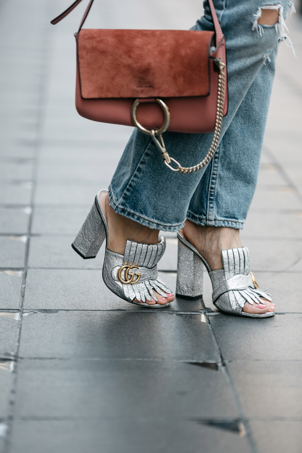 gucci marmont silver fringe mules and rose pink chloe faye bag