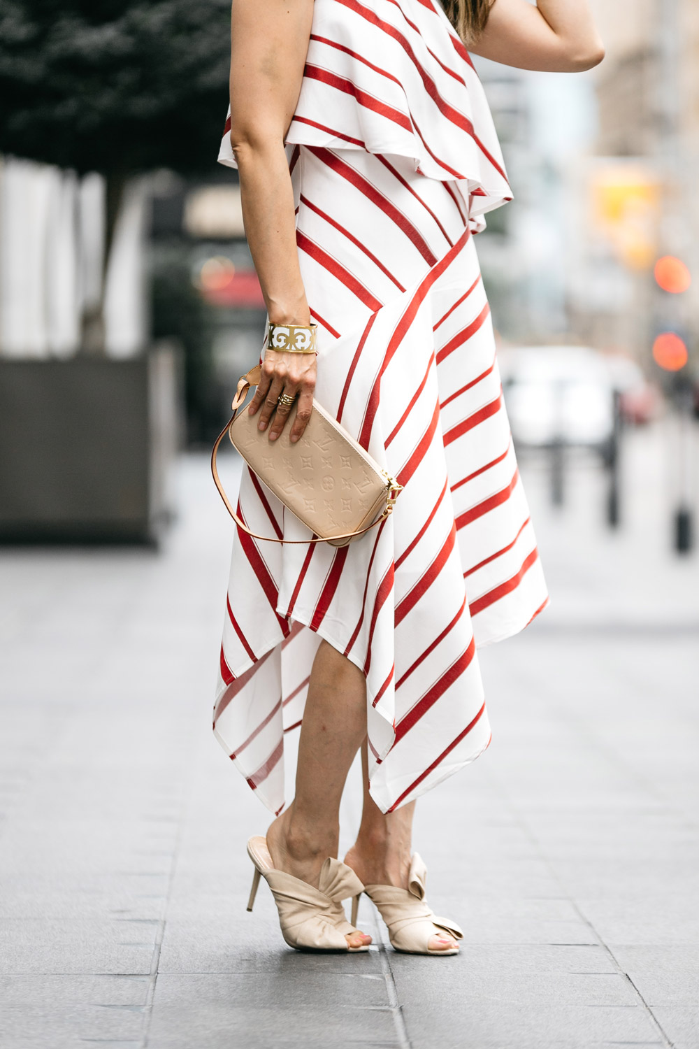 banana republic striped layered one-shoulder dress charlotte olympia ilona mules louis vuitton vernis pochette hermes bangle