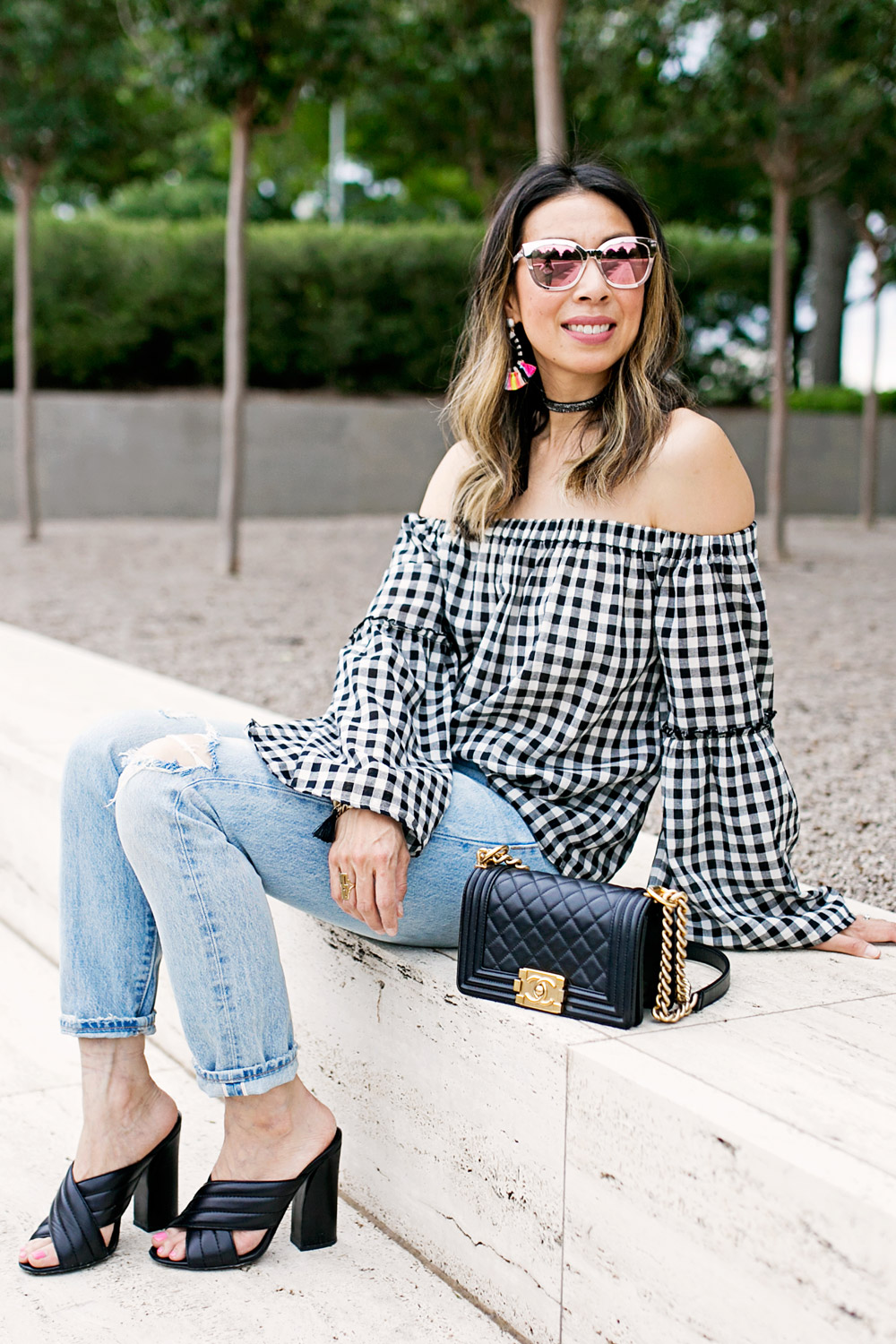 who what wear collection bardot sleeve gingham off the shoulder top with levi's light wash mom jeans and baublebar sandbar earrings, chanel boy bag and gucci webby mules