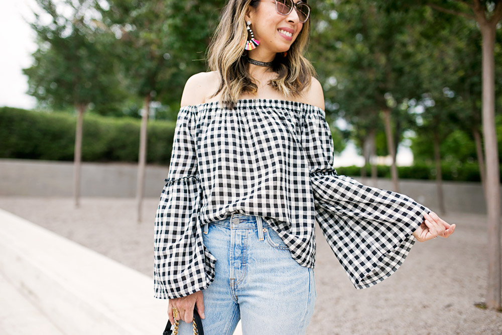 who what wear collection bardot sleeve gingham off the shoulder top with levi's light wash mom jeans and baublebar sandbar earrings
