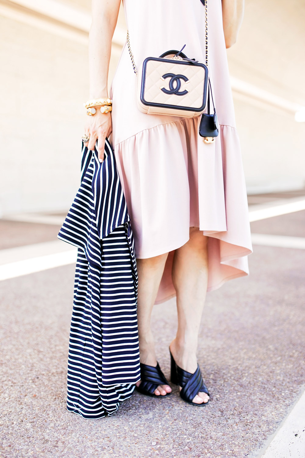 cabi maritime striped trench blush pink drop waist dress chanel vanity bag gucci webby mules
