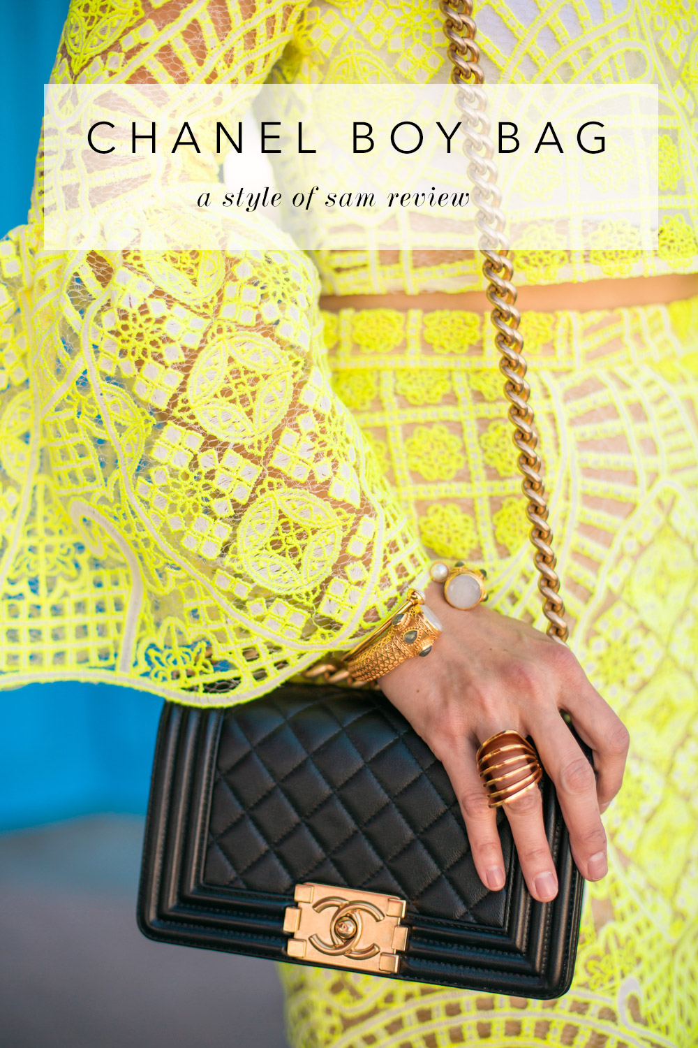 22f89010e90b small chanel boy bag review, julie vos bangle, alexis yellow lace bell  sleeve top ...