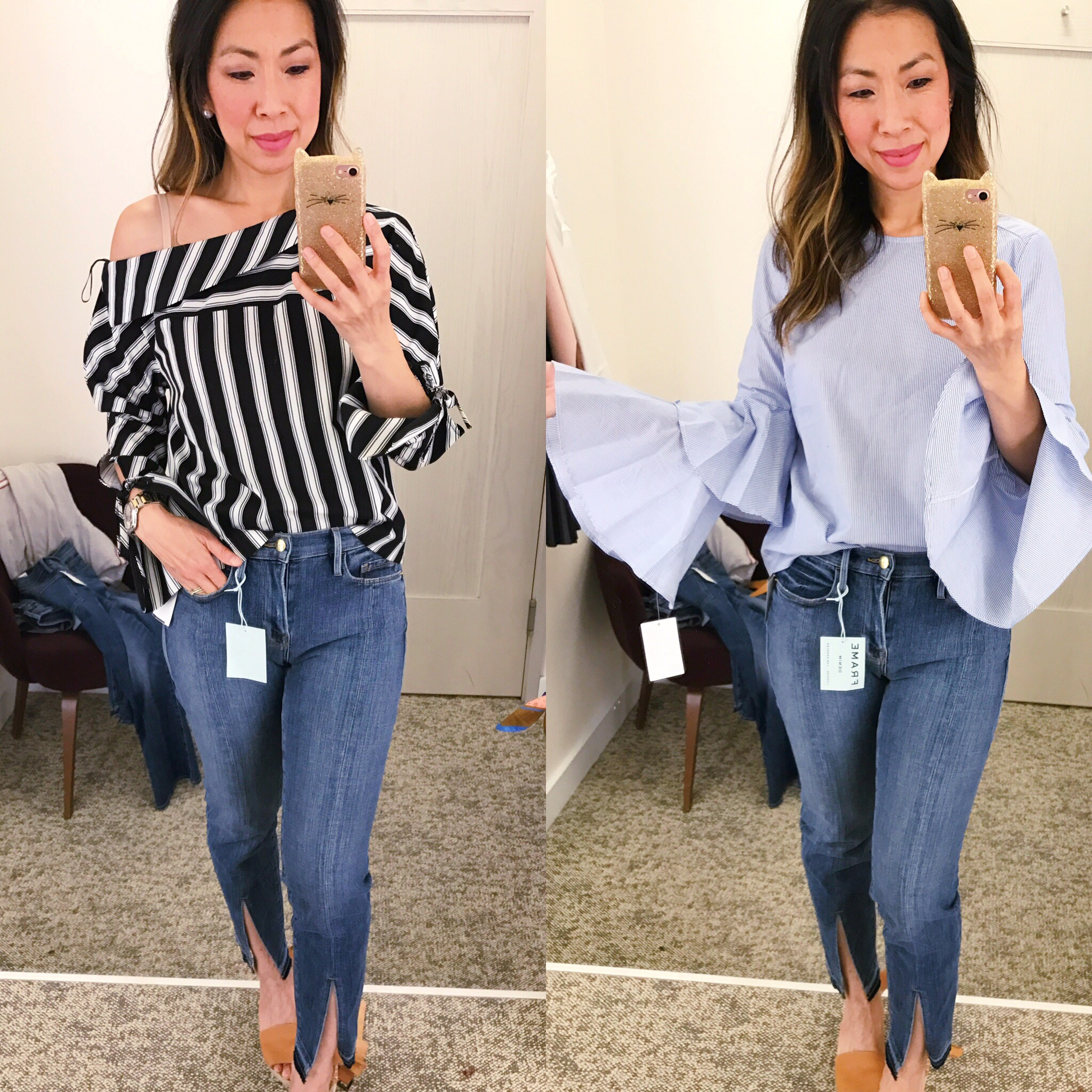 Nordstrom Anniversary Sale Dressing Room Diaries 2017 topshop striped one shoulder top chelsea28 ruffle sleeve top