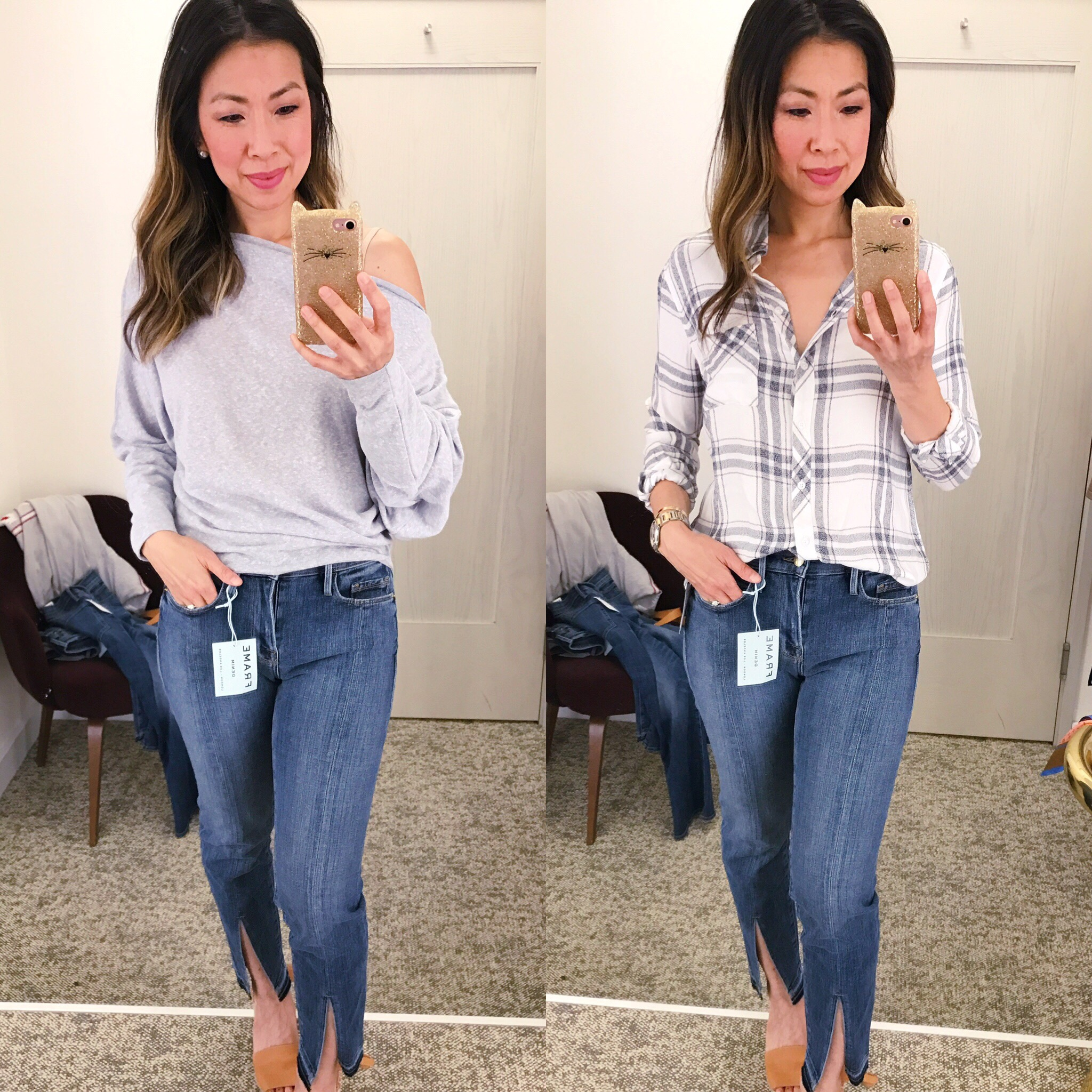 Nordstrom Anniversary Sale Dressing Room Diaries 2017 free people off the shoulder top rails hunter plaid button down shirt