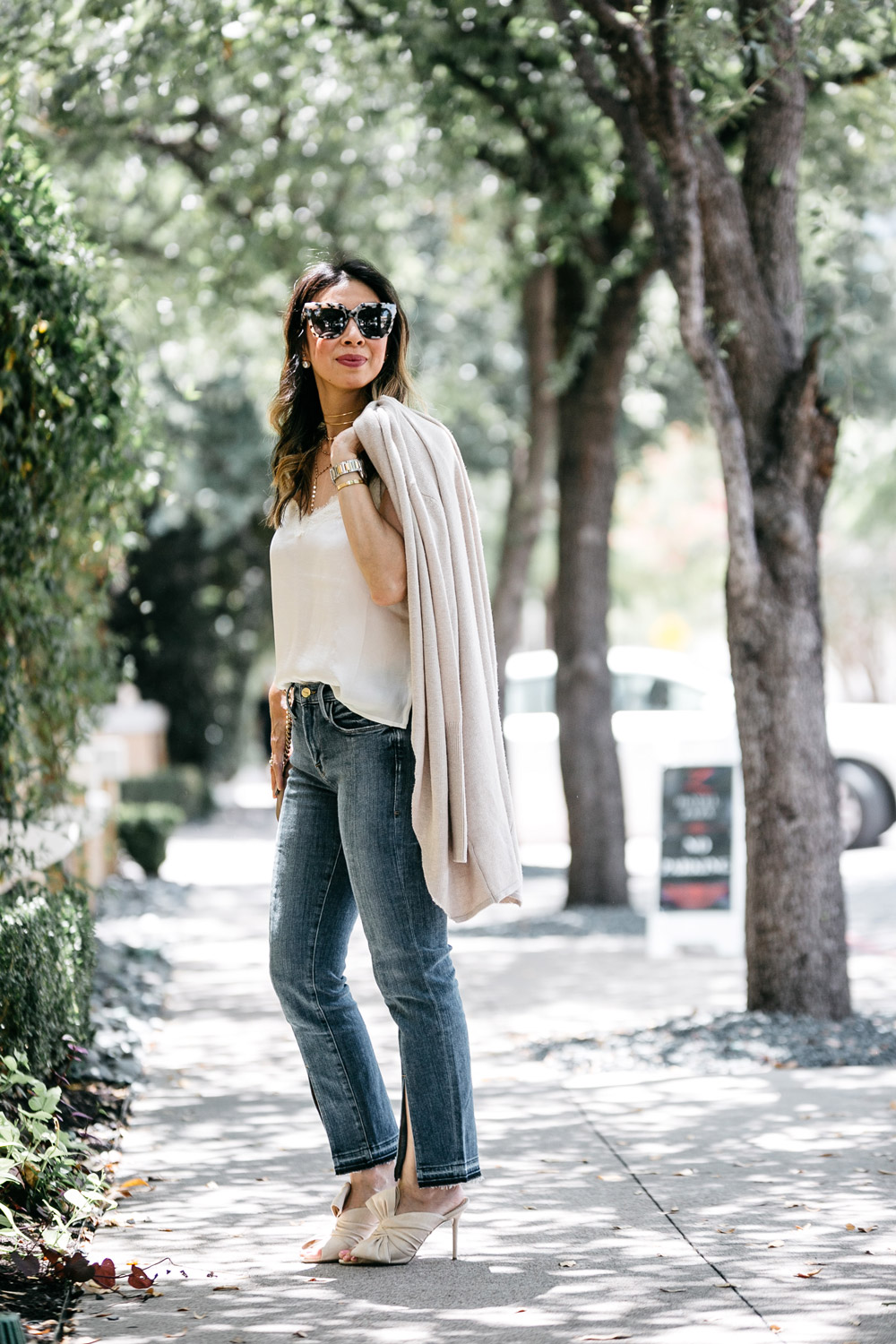 leith easy circle cardigan lace cami frame front split hem jeans charlotte olympia ilona bow mules