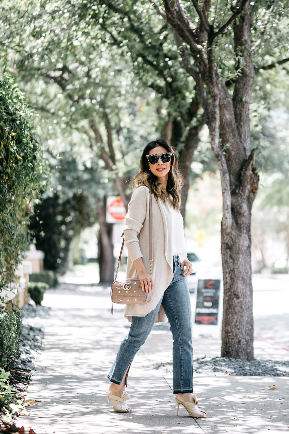 leith easy circle cardigan lace cami frame front split hem jeans charlotte olympia ilona bow mules gucci pearl marmont camera bag