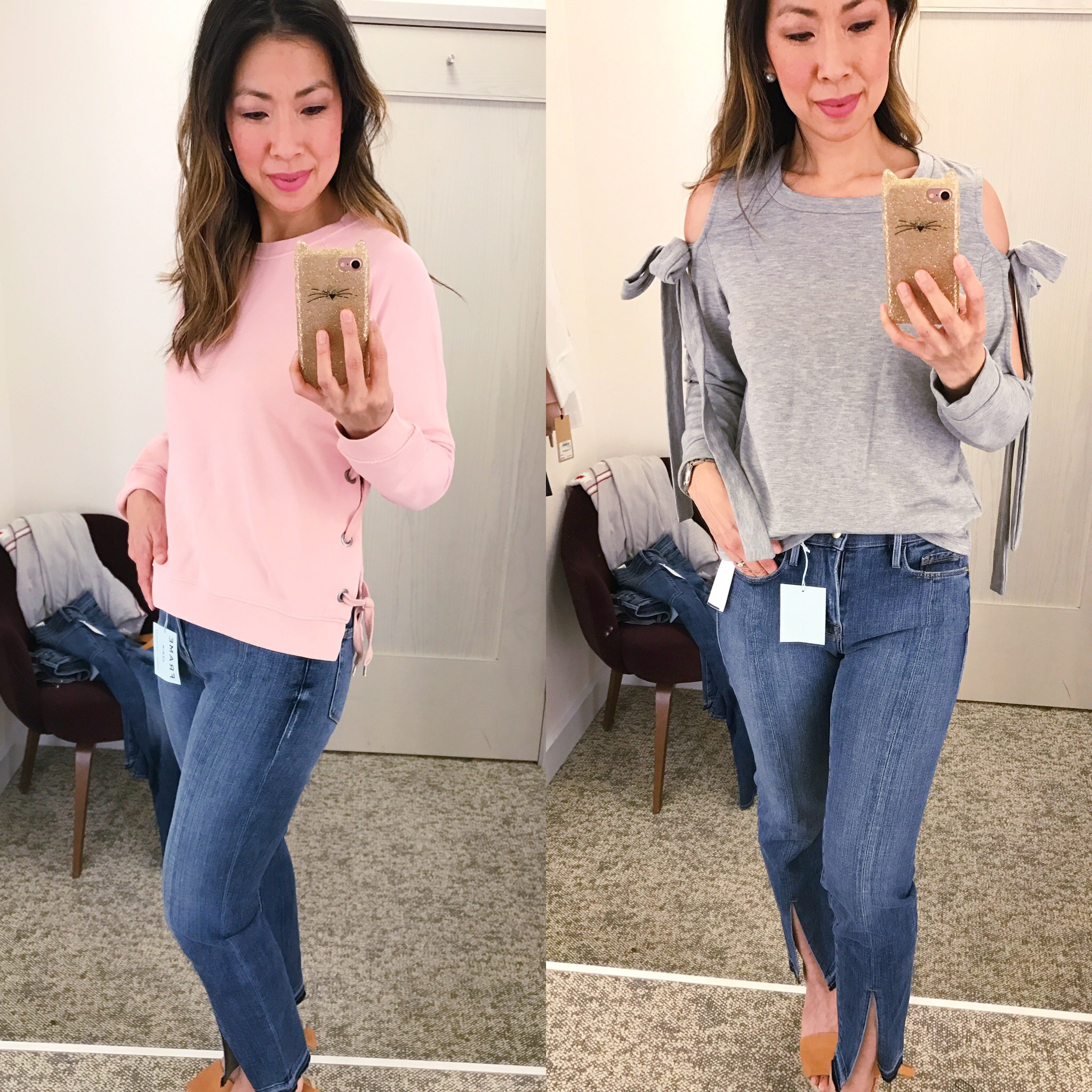 Nordstrom Anniversary Sale Dressing Room Diaries 2017 sincerely jules lace-up sweatshirt grey cold shoulder bow tee