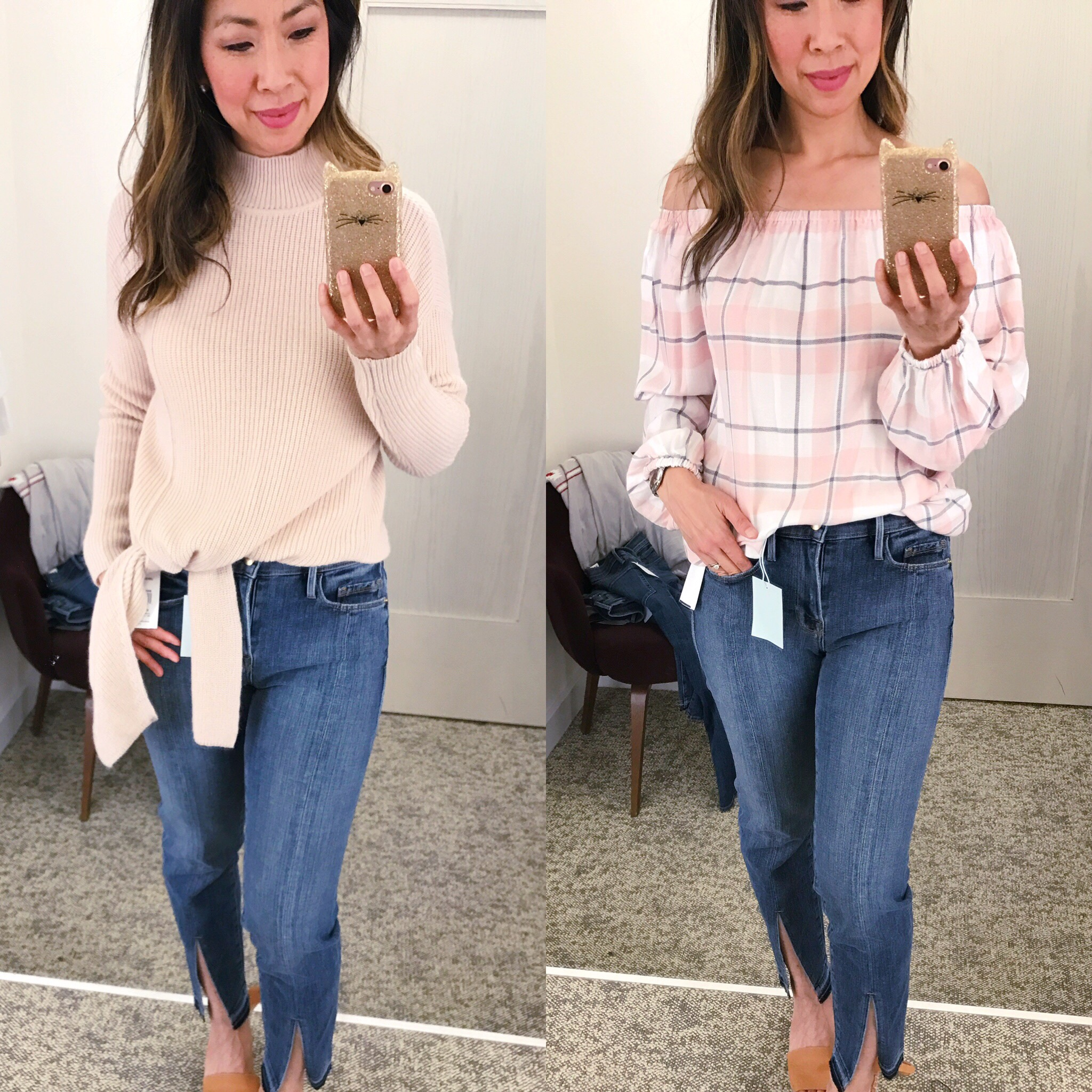 NSale Dressing Room Diaries 2017 botton tie sweater plaid flannet off the shoulder top