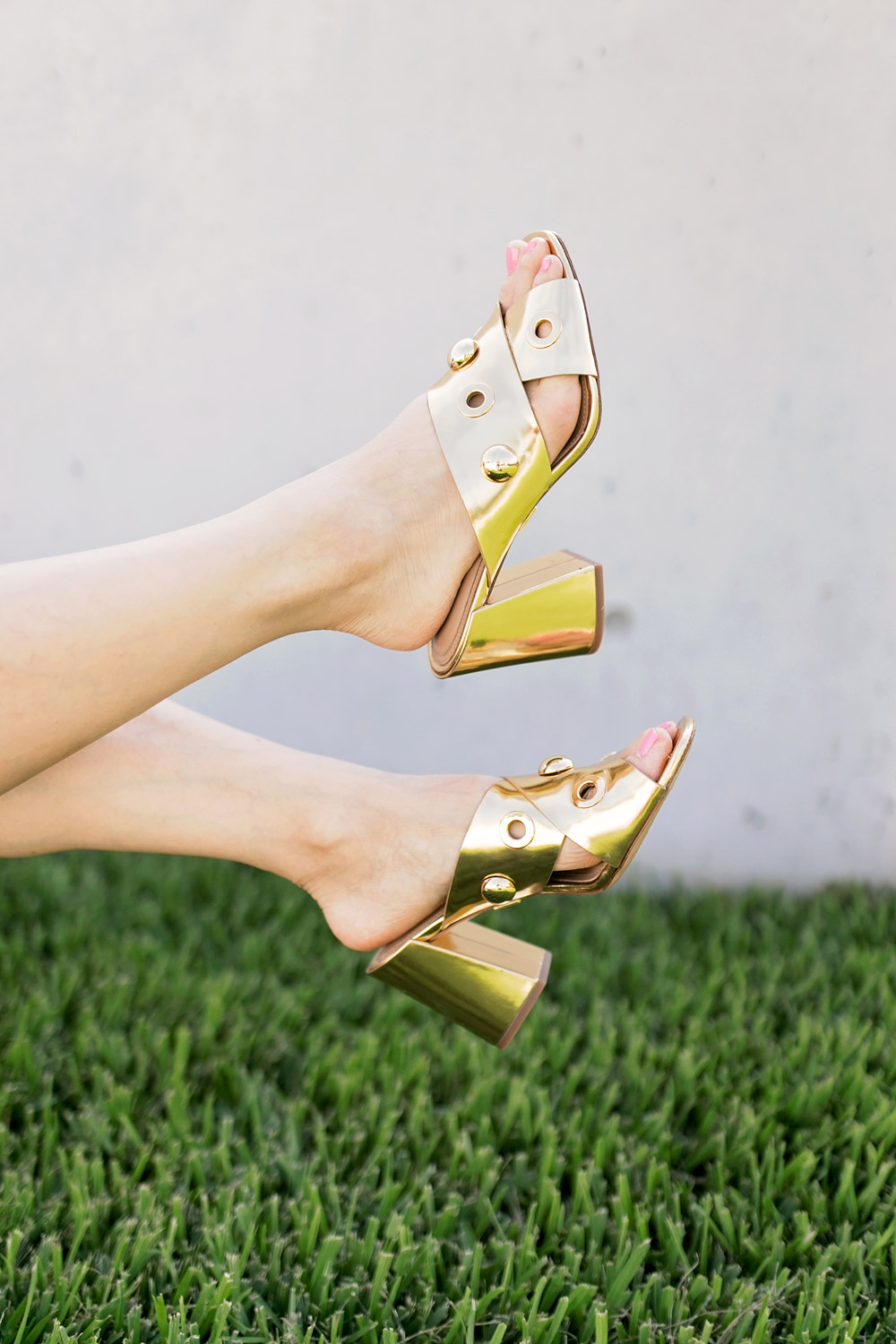 michael kors gold brianna mules