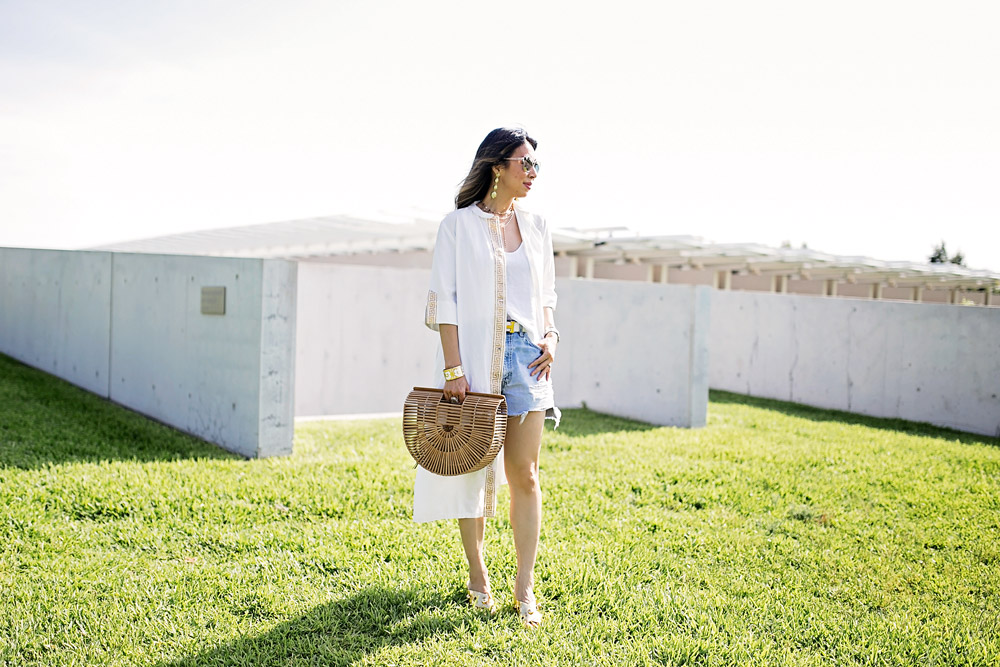 greek key coverup bamboo arc bag vintage levi's denim shorts michael kors gold brianna mules