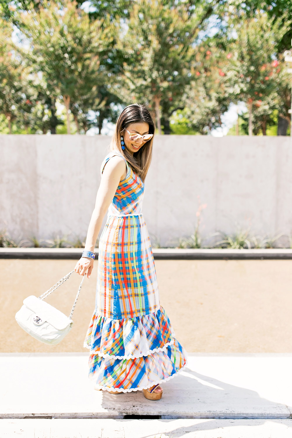 From Grandma with Love // Blue Plaid Maxi Dress