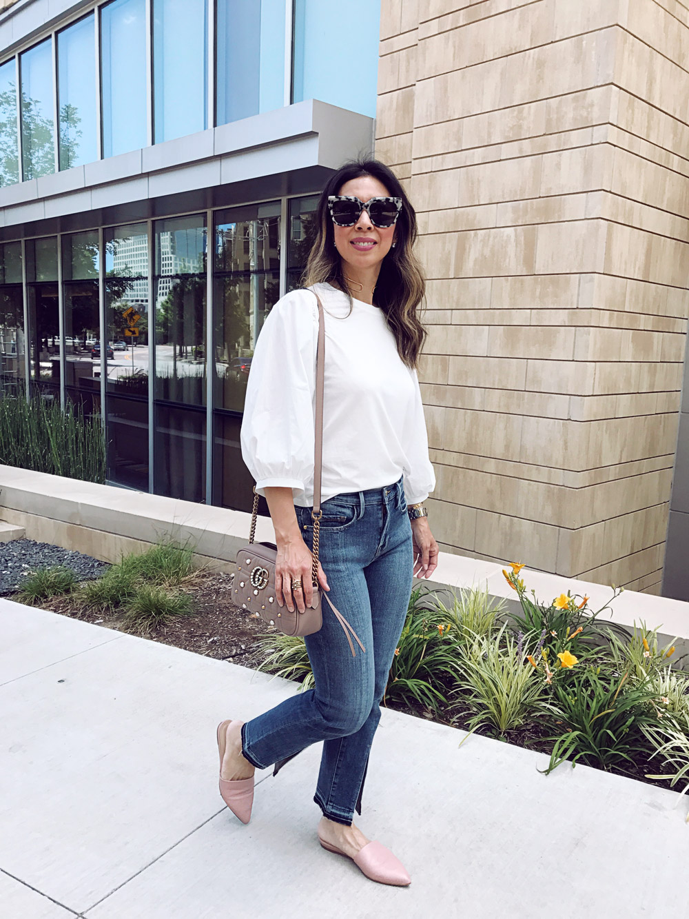 topshop balloon sleeve top frame front split hem jeans everlane pointed slides sonix avalon sunglasses gucci pearl marmont bag nordstrom anniversary sale picks 2017
