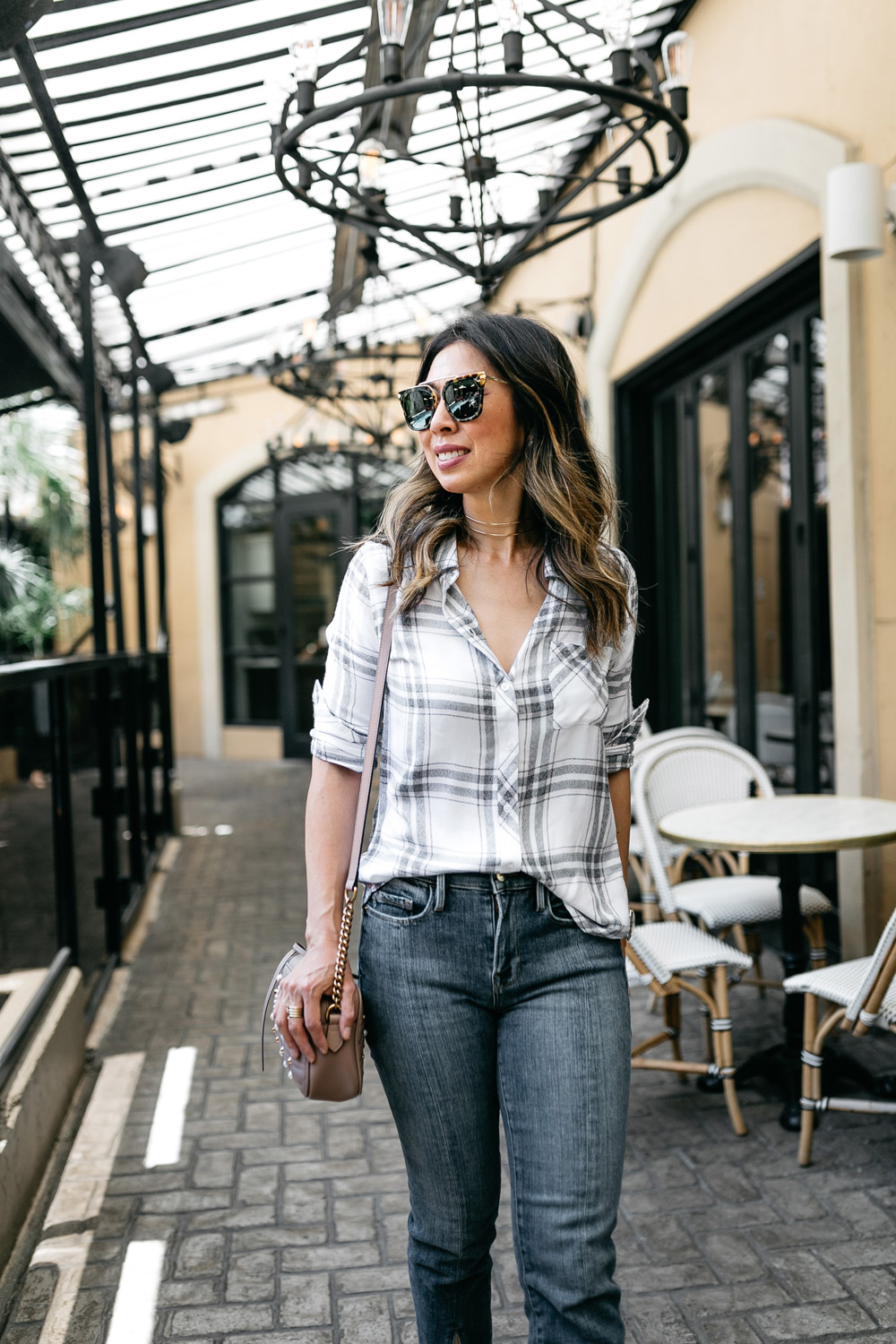 RAILS hunter plaid shirt frame front split jeans gucci pearl marmont camera bag sonix parker sunglasses
