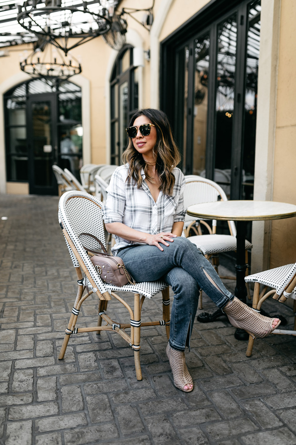 RAILS hunter plaid shirt frame front split jeans gucci pearl marmont camera bag sam edelman perforated peep toe booties
