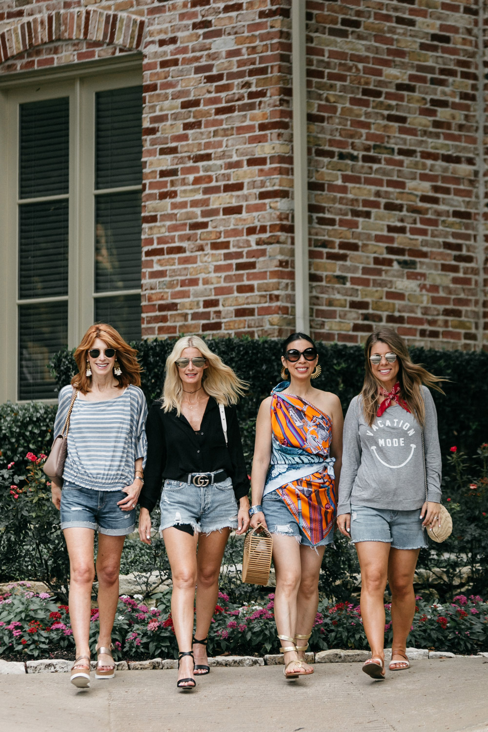 four ways to wear denim cutoff shorts