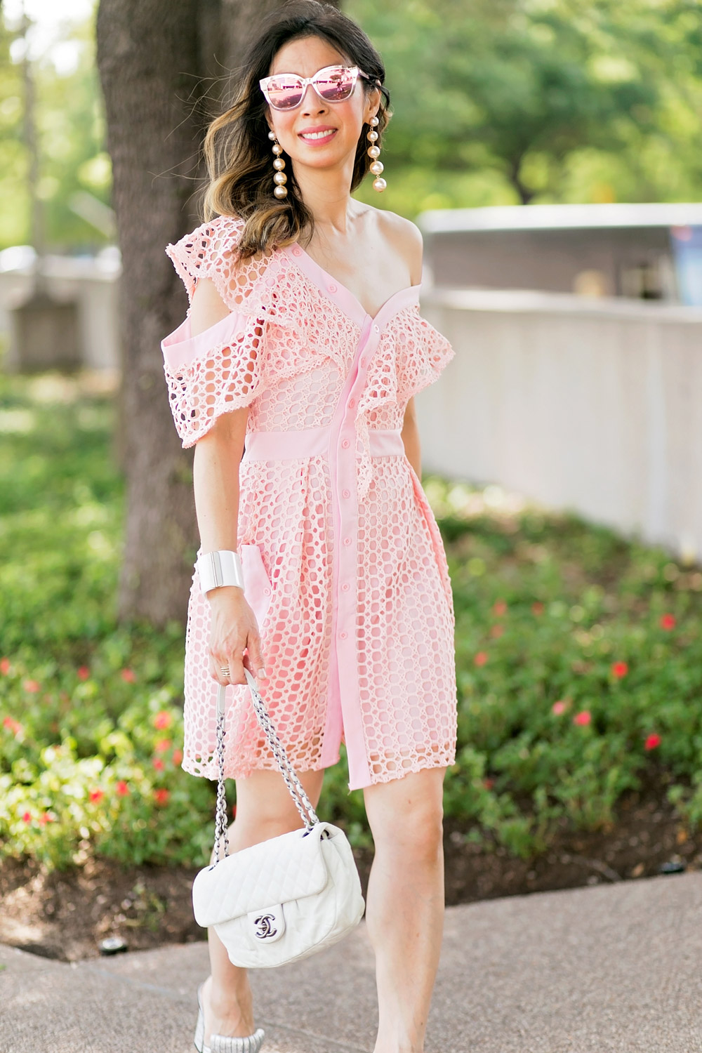 self portrait lace frill mini pink dress dupe white chanel flap gingham cuff