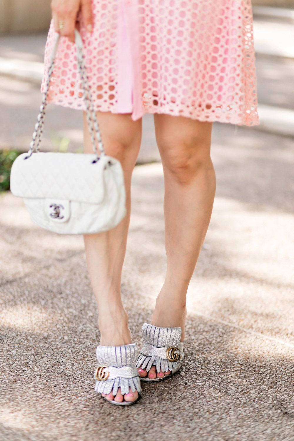 self portrait lace frill mini pink dress dupe white chanel flap marmont silver mules