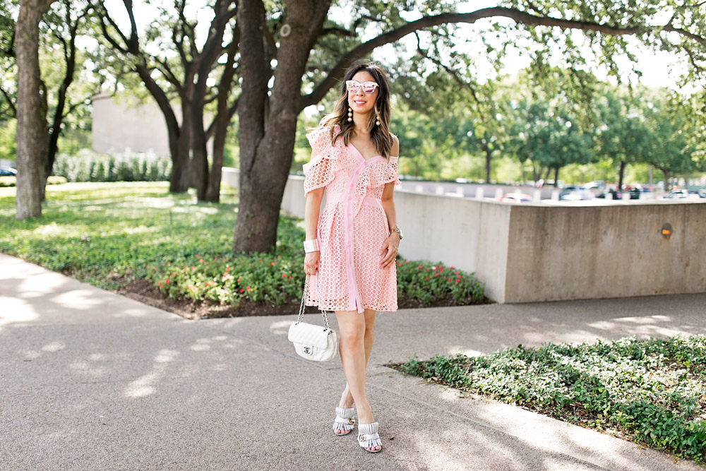 self portrait lace frill mini pink dress dupe white chanel flap cuff pearl drop earrings gucci marmont silver mules