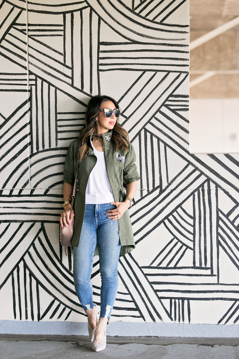 cabi hanson anorak embellished army green jacket white tee good american high waist skinny jeans vince camuto ankia pump