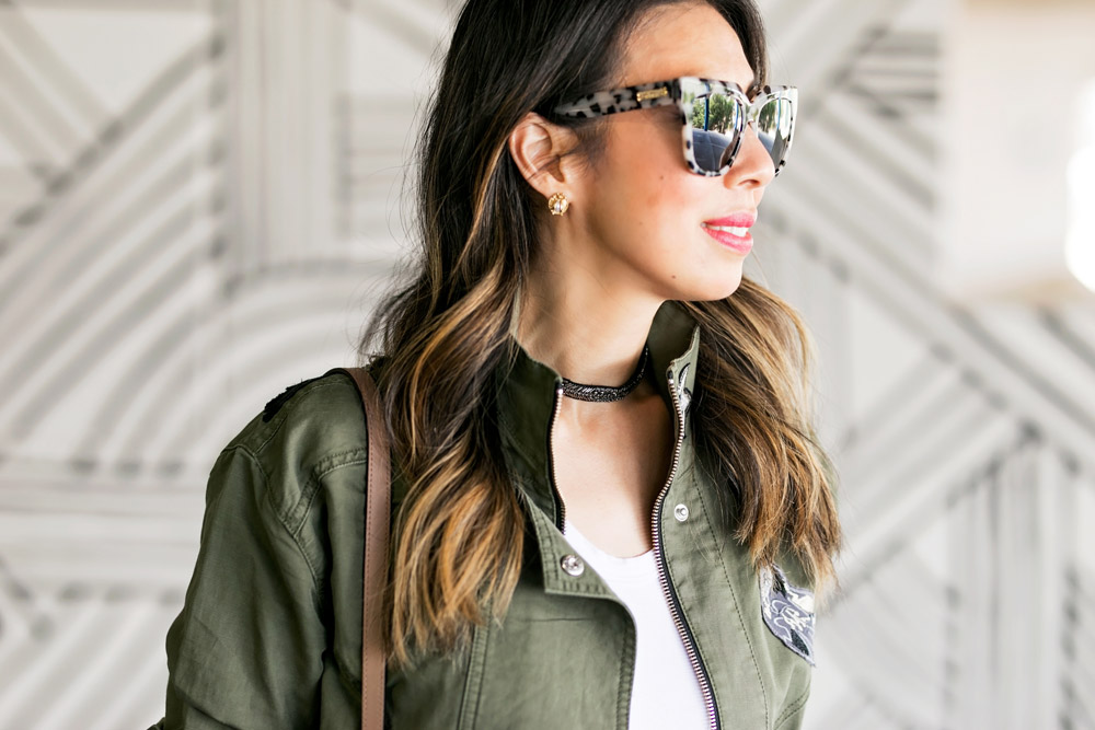 cabi hanson anorak embellished army green jacket sonix avalon sunglasses stella dot emme choker necklace
