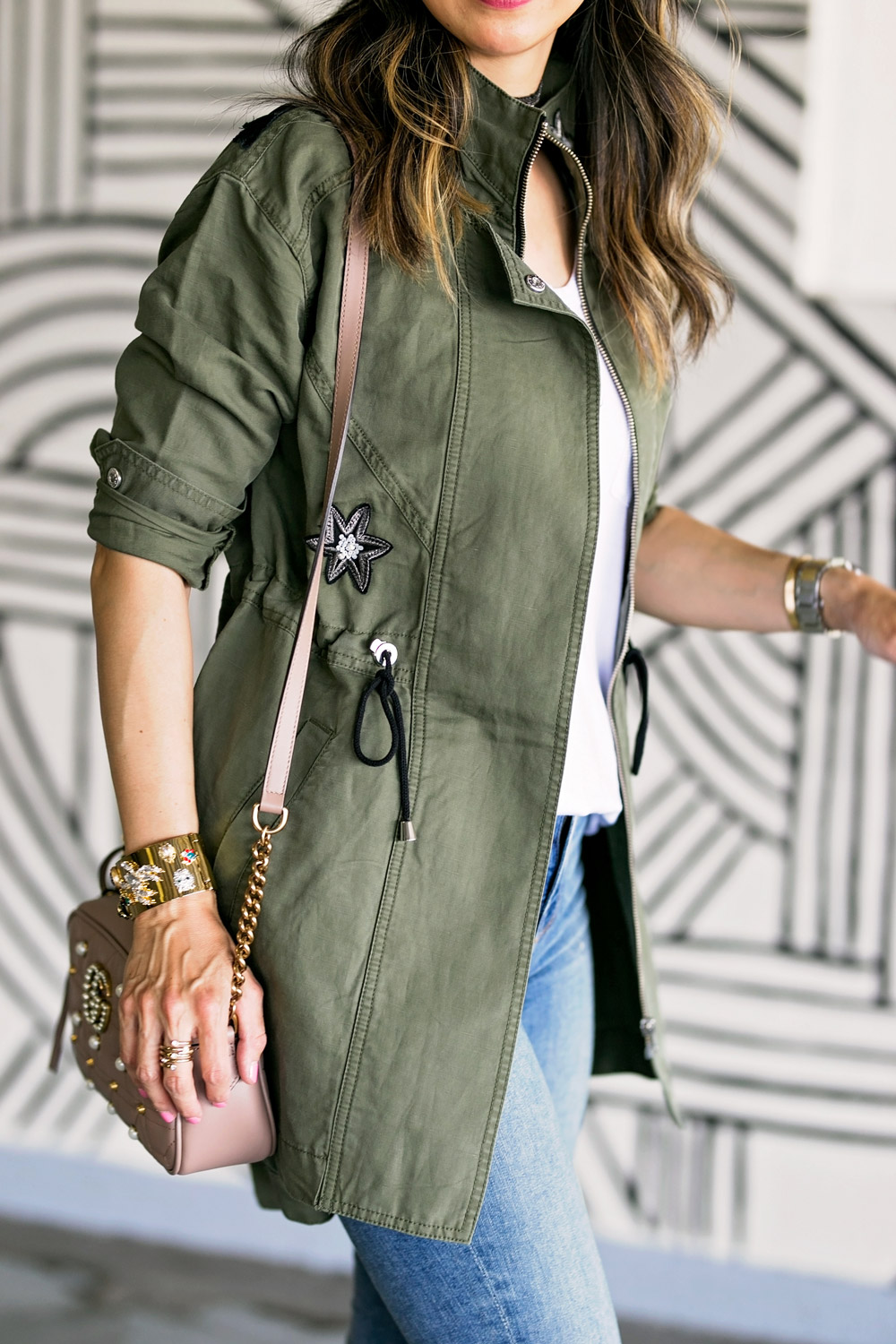 cabi hanson anorak embellished army green jacket secret garden cuff gucci marmont pearl camera bag