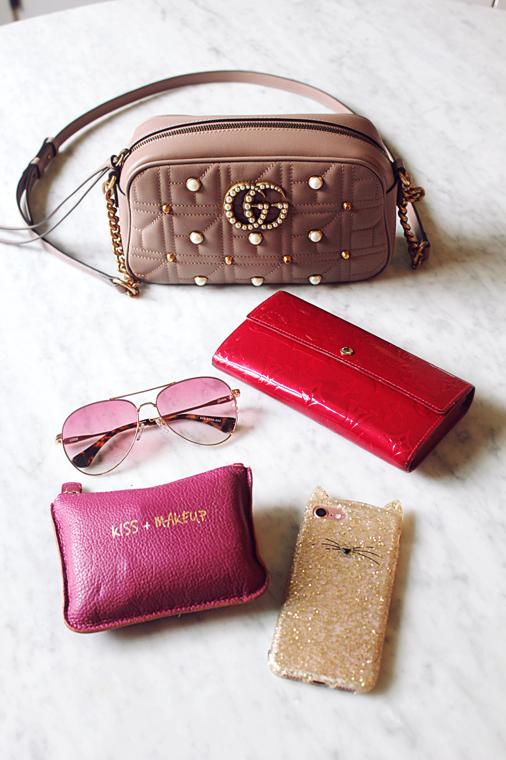 gucci marmont pearl taupe nude pink camera bag review what fits in the bag lv vernis long wallet sonix aviator sunglasses