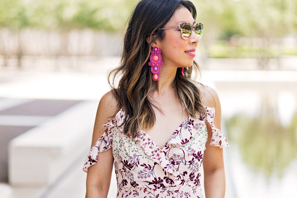 target ruffle cold shoulder maxi dress alejandra aspillaga earrings dior diorama caged sunglasses