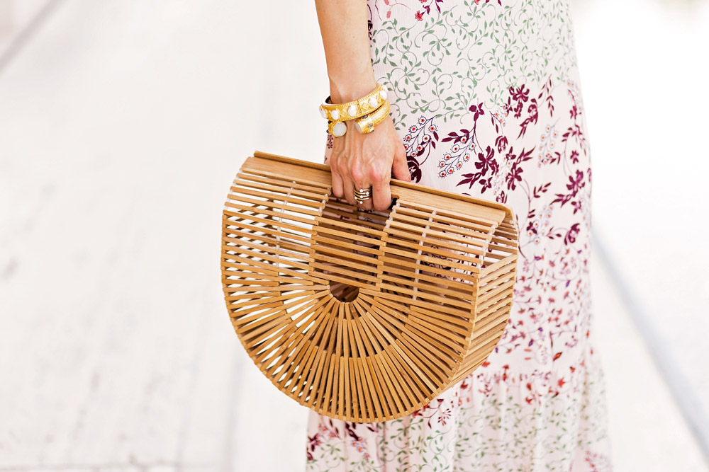 target ruffle cold shoulder maxi dress bamboo arc bag julie vos baroque cuff sienna bracelet