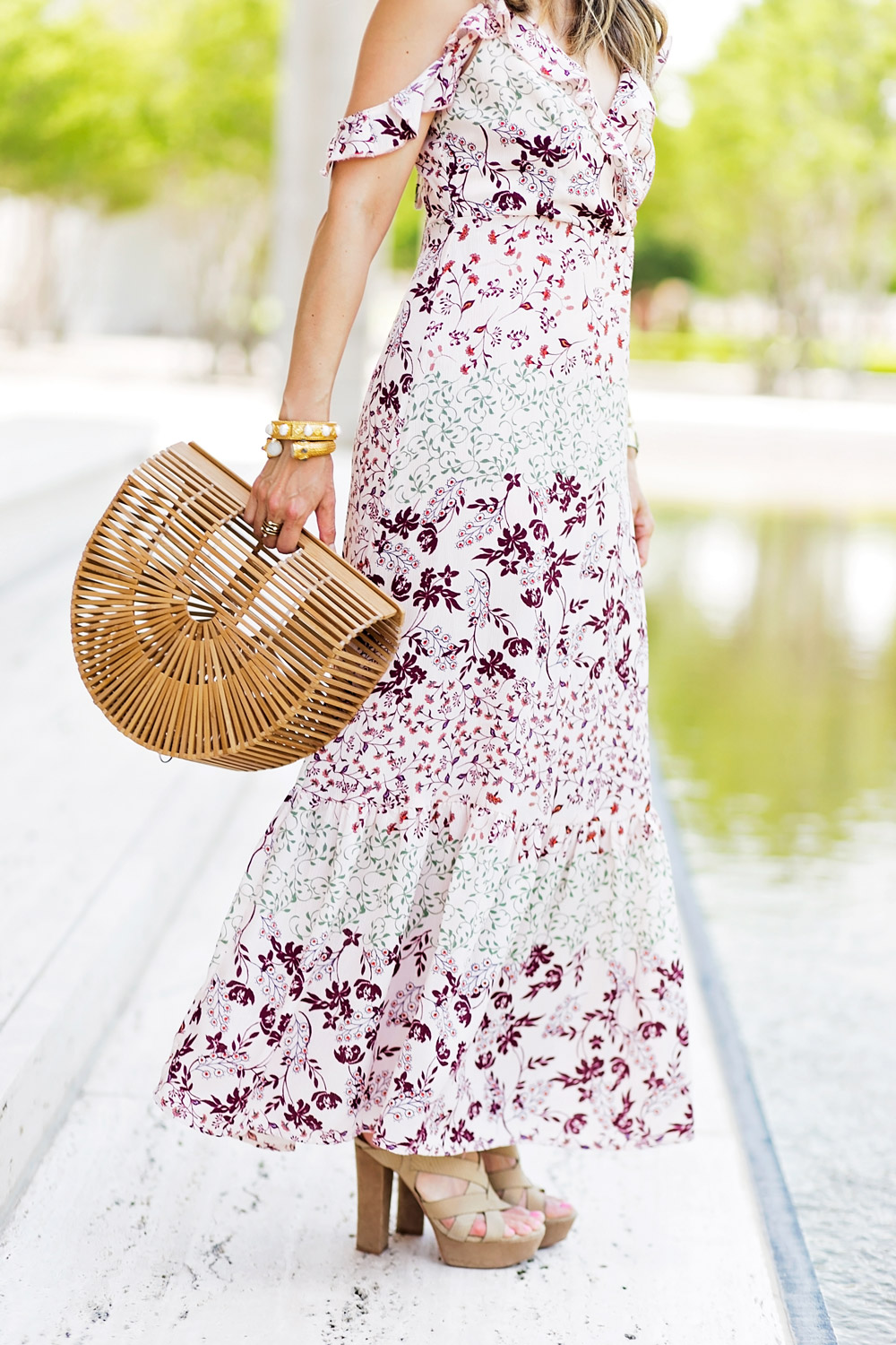 target ruffle cold shoulder maxi dress bamboo arc bag julie vos baroque cuff sienna bracelet joie platform sandals