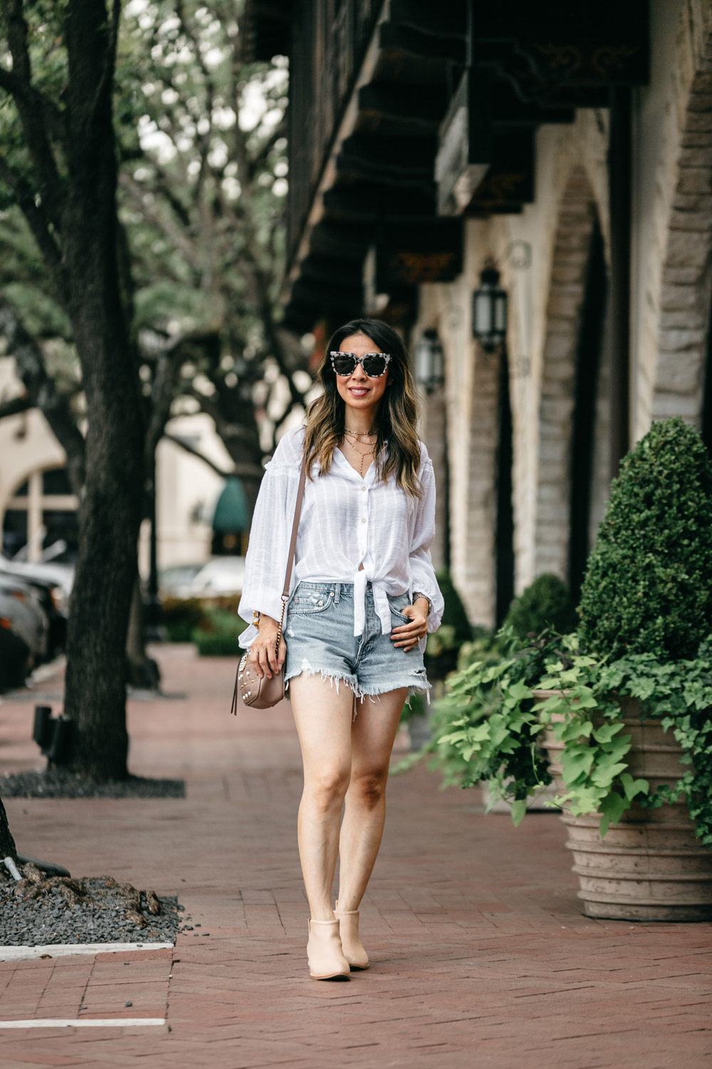free people headed to the highlands button up blouse agolde parker denim shorts jeffrey campbell musklo pearl bootie