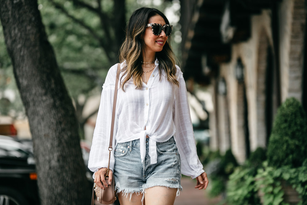 free people headed to the highlands button up blouse agolde parker denim shorts labor day outfit