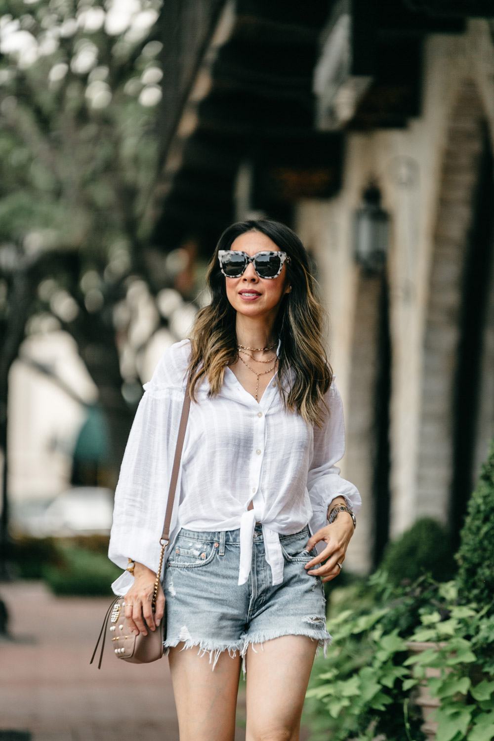 free people headed to the highlands button up blouse agolde parker denim shorts sonix avelon sunglasses