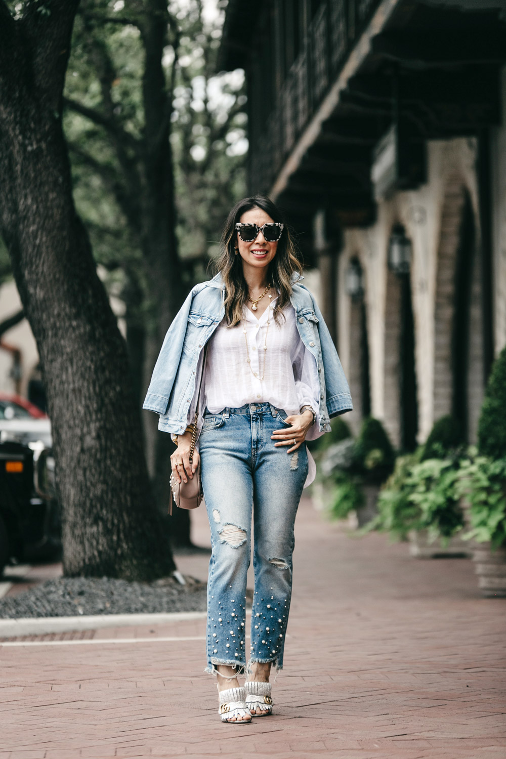 madewell bell sleeve denim jacket free people to the highlands top pearl embellished jeans gucci marmont silver mules