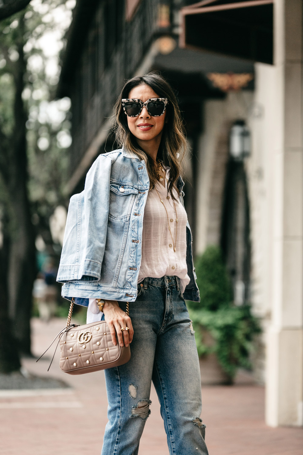 madewell bell sleeve denim jacket free people to the highlands top pearl embellished jeans gucci marmont pearl cameral bag