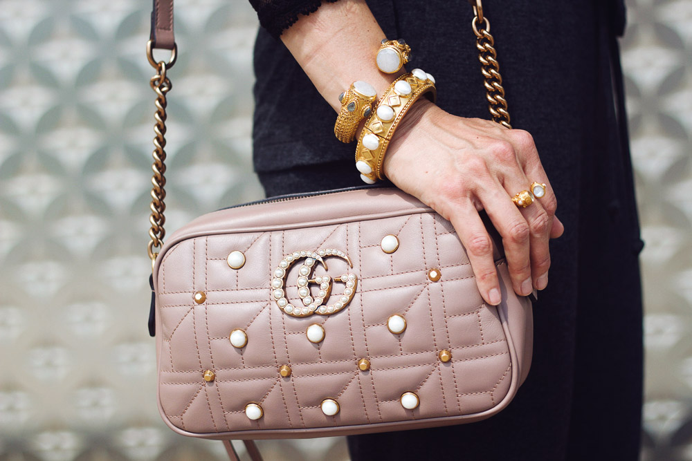 gucci pearl marmont camera bag julie vos bracelets