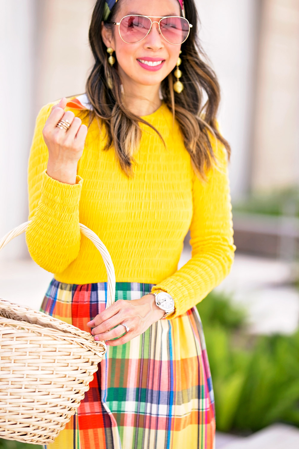 vintage yellow plaid ruffle maxi dress basket bag gold drop earring sonix rose pink aviator sunglasses
